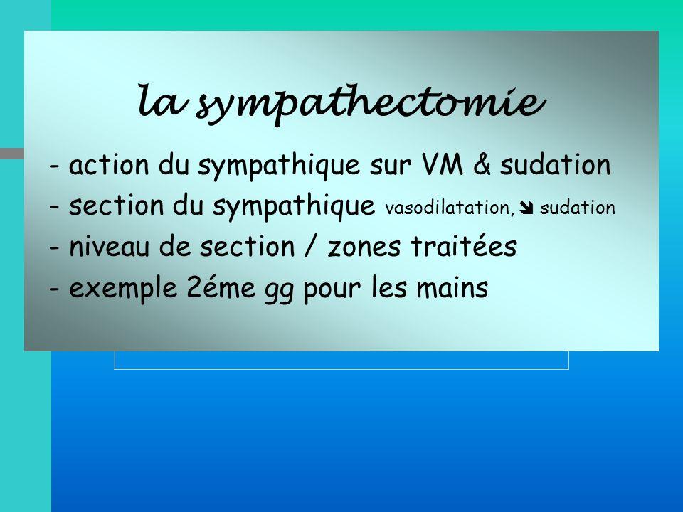 la sympathectomie - action du sympathique sur VM & sudation - section du sympathique vasodilatation, sudation - niveau de section / zones traitées - e