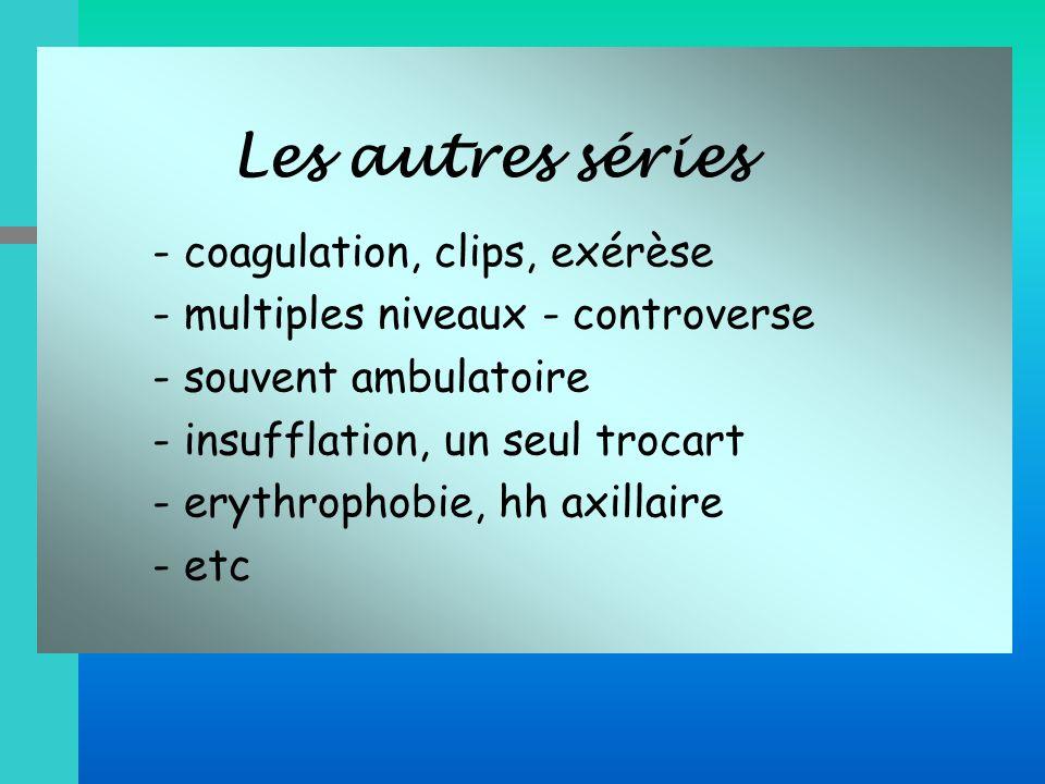 Les autres séries - coagulation, clips, exérèse - multiples niveaux - controverse - souvent ambulatoire - insufflation, un seul trocart - erythrophobi