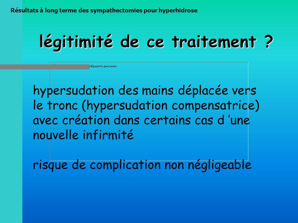 Résultats à long terme des sympathectomies pour hyperhidrose légitimité de ce traitement ? hypersudation des mains déplacée vers le tronc (hypersudati