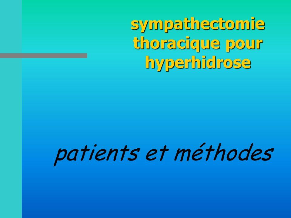 sympathectomie thoracique pour hyperhidrose patients et méthodes
