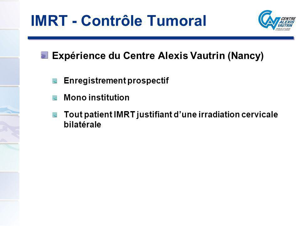 IMRT - Contrôle Tumoral Expérience du Centre Alexis Vautrin (Nancy) Enregistrement prospectif Mono institution Tout patient IMRT justifiant dune irrad