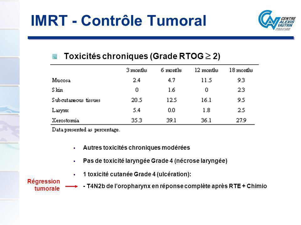 Toxicités chroniques (Grade RTOG 2) Autres toxicités chroniques modérées Pas de toxicité laryngée Grade 4 (nécrose laryngée) 1 toxicité cutanée Grade