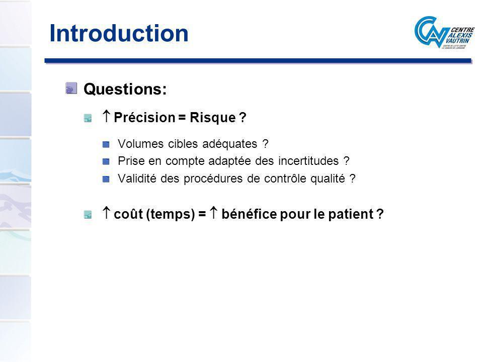 Introduction Questions: Précision = Risque ? Volumes cibles adéquates ? Prise en compte adaptée des incertitudes ? Validité des procédures de contrôle