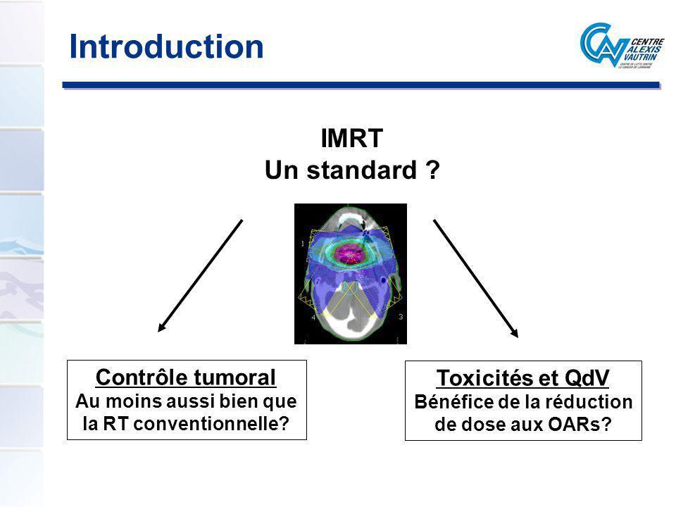 Introduction IMRT Un standard ? Contrôle tumoral Au moins aussi bien que la RT conventionnelle? Toxicités et QdV Bénéfice de la réduction de dose aux