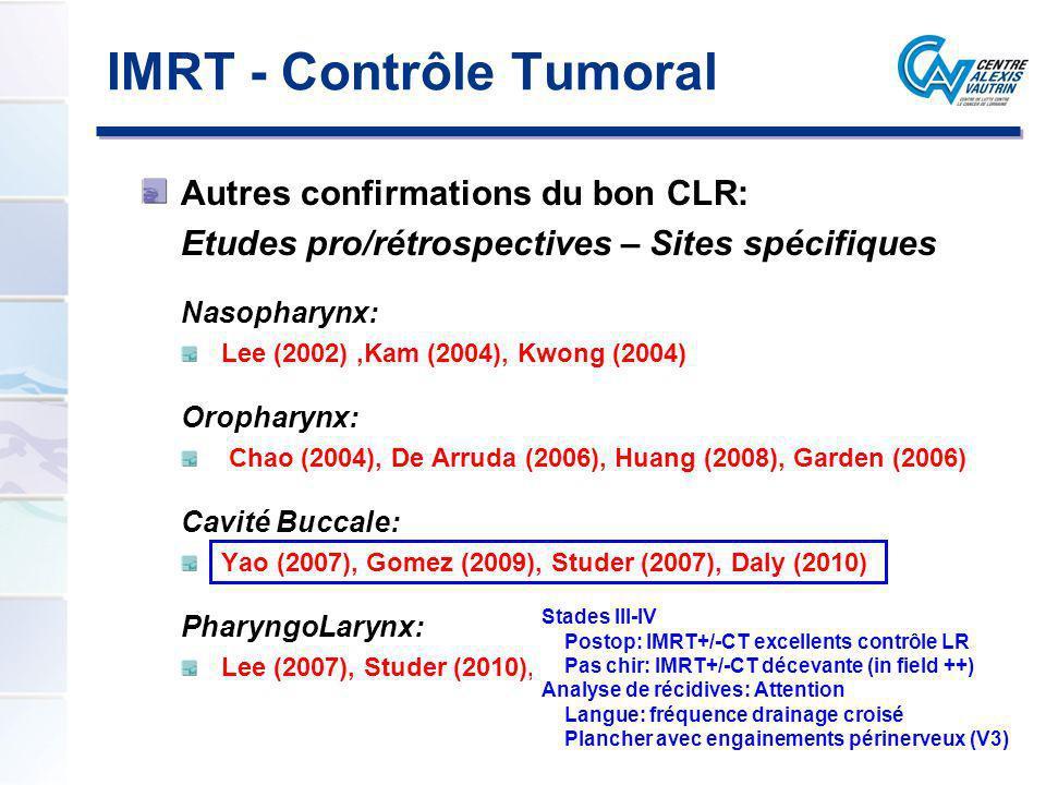 IMRT - Contrôle Tumoral Autres confirmations du bon CLR: Etudes pro/rétrospectives – Sites spécifiques Nasopharynx: Lee (2002),Kam (2004), Kwong (2004