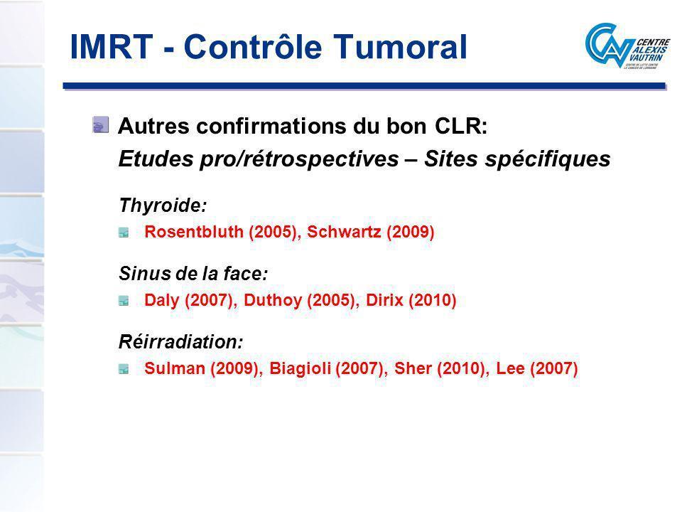 IMRT - Contrôle Tumoral Autres confirmations du bon CLR: Etudes pro/rétrospectives – Sites spécifiques Thyroide: Rosentbluth (2005), Schwartz (2009) S