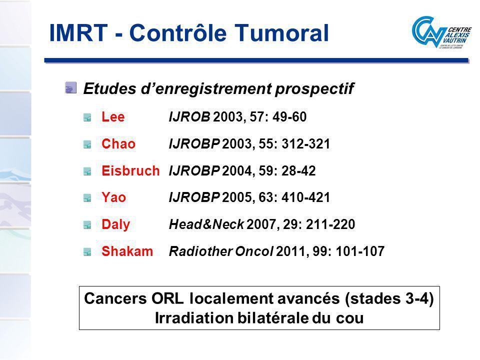 IMRT - Contrôle Tumoral Expérience du Centre Alexis Vautrin (Nancy) Enregistrement prospectif Mono institution Tout patient IMRT justifiant dune irradiation cervicale bilatérale