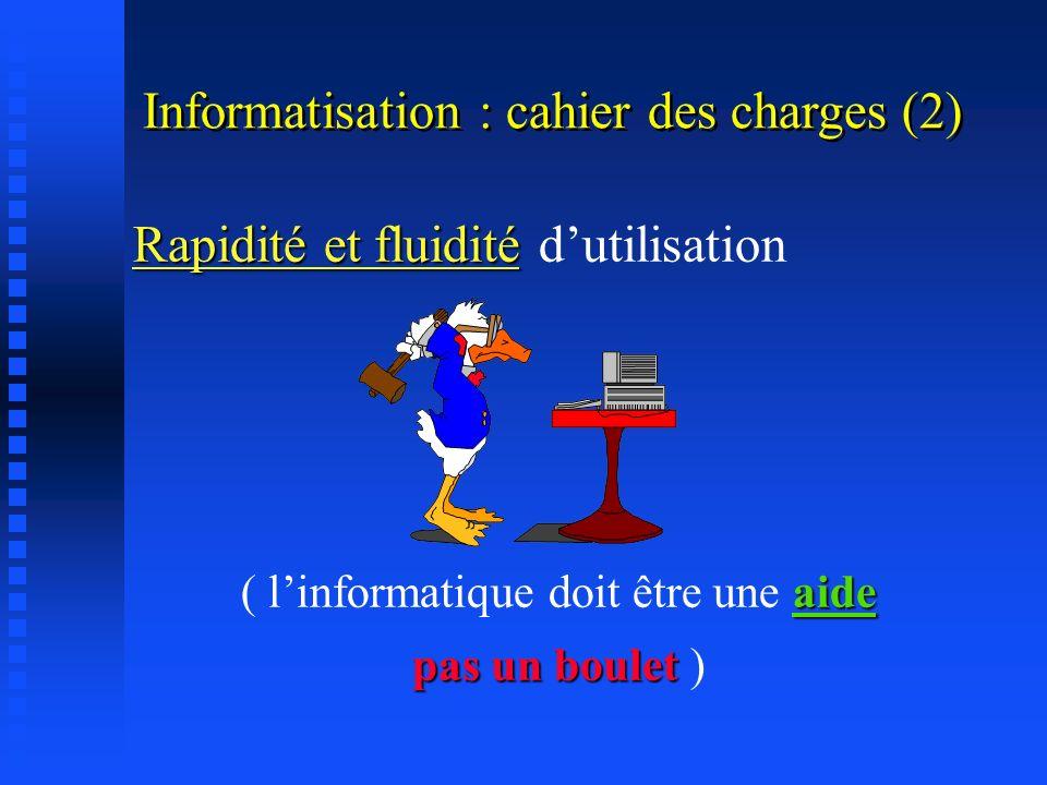 Informatisation : cahier des charges (1) Constitution dune base de données médicales Accès permanent et rapide Temps dapprentissage très court (Nouvea