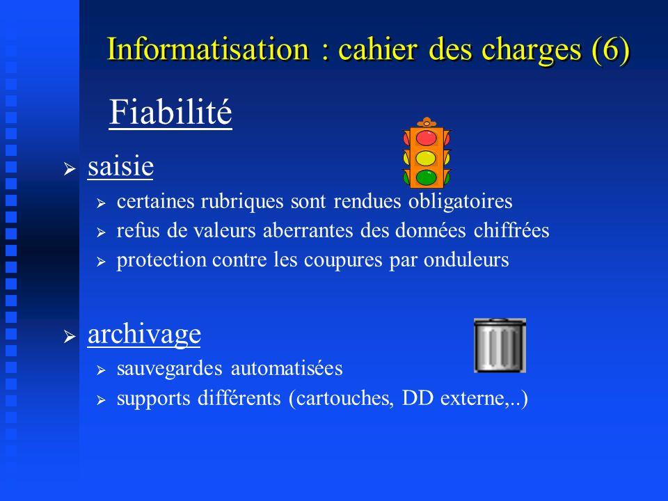 Informatisation : cahier des charges (5) Comptabilité en temps réel Outil de communication interne au groupe (messagerie interne) vers les autres cabi