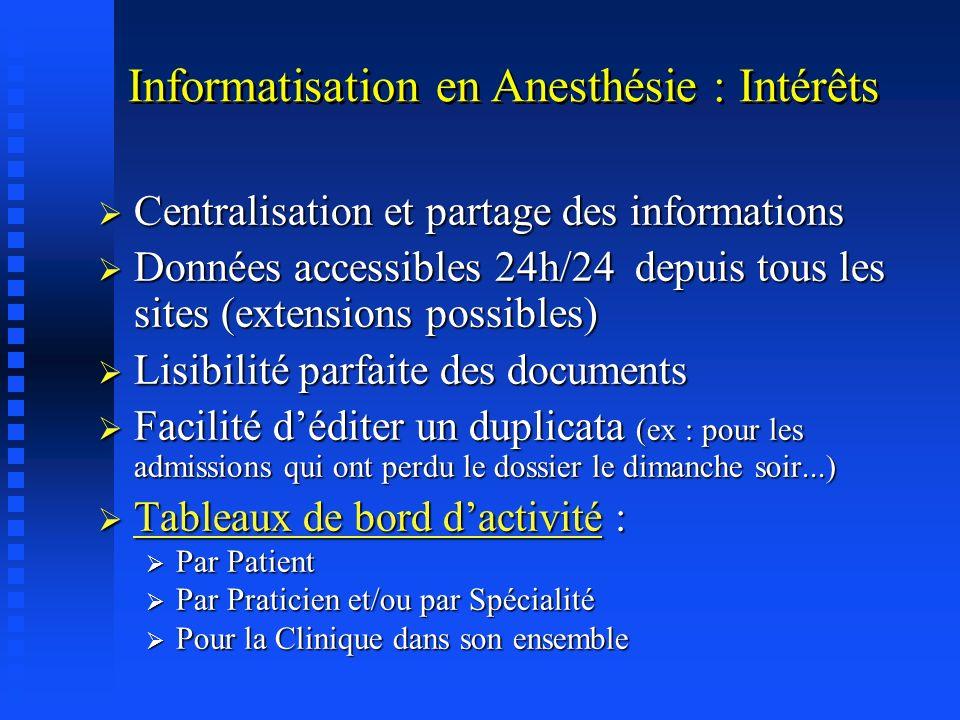 C est la base du Dossier Patient dans une clinique chirurgicale Informatisation en Anesthésie : Intérêts