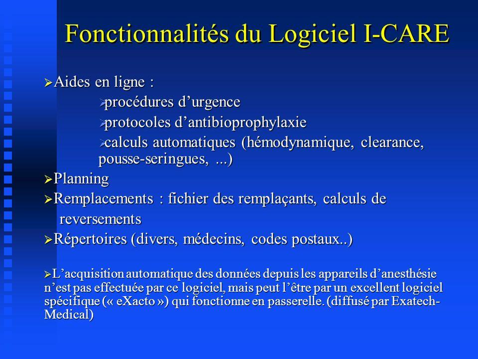 Fonctionnalités du Logiciel I-CARE Consultation danesthésie (1 secrétariat, 2 bureaux, ou plus...) Consultation danesthésie (1 secrétariat, 2 bureaux,