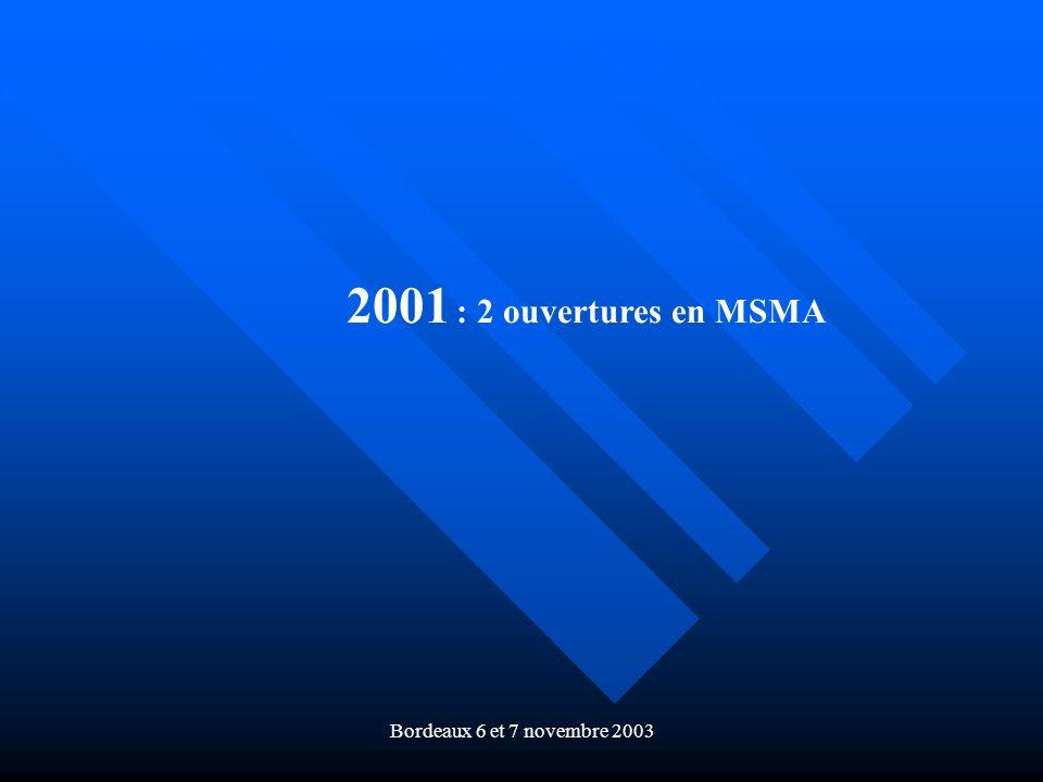 Bordeaux 6 et 7 novembre 2003 2001 : 2 ouvertures en MSMA