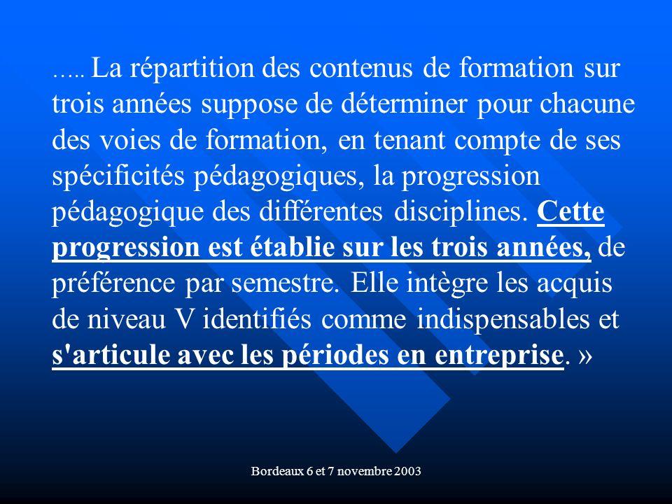 Bordeaux 6 et 7 novembre 2003 ….. La répartition des contenus de formation sur trois années suppose de déterminer pour chacune des voies de formation,