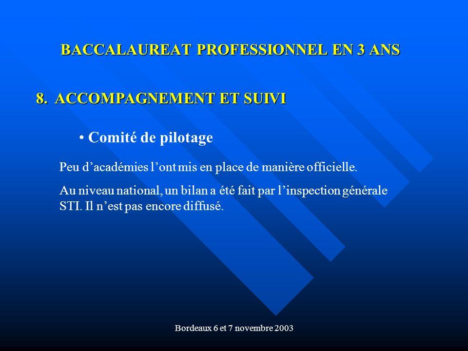 Bordeaux 6 et 7 novembre 2003 BACCALAUREAT PROFESSIONNEL EN 3 ANS 8. ACCOMPAGNEMENT ET SUIVI Comité de pilotage Peu dacadémies lont mis en place de ma