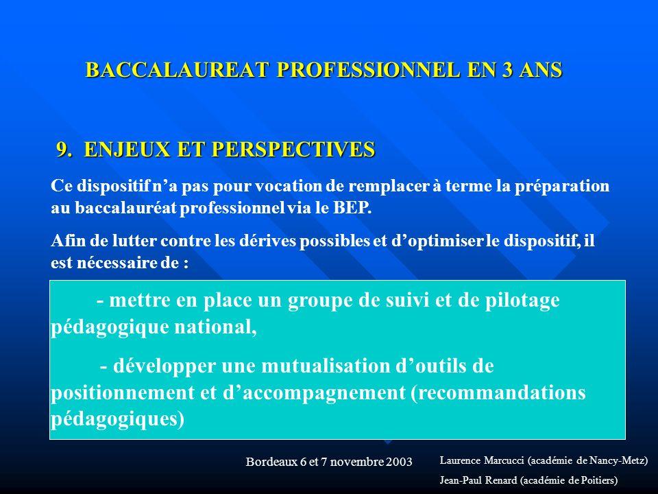 Bordeaux 6 et 7 novembre 2003 BACCALAUREAT PROFESSIONNEL EN 3 ANS 9. ENJEUX ET PERSPECTIVES Ce dispositif na pas pour vocation de remplacer à terme la