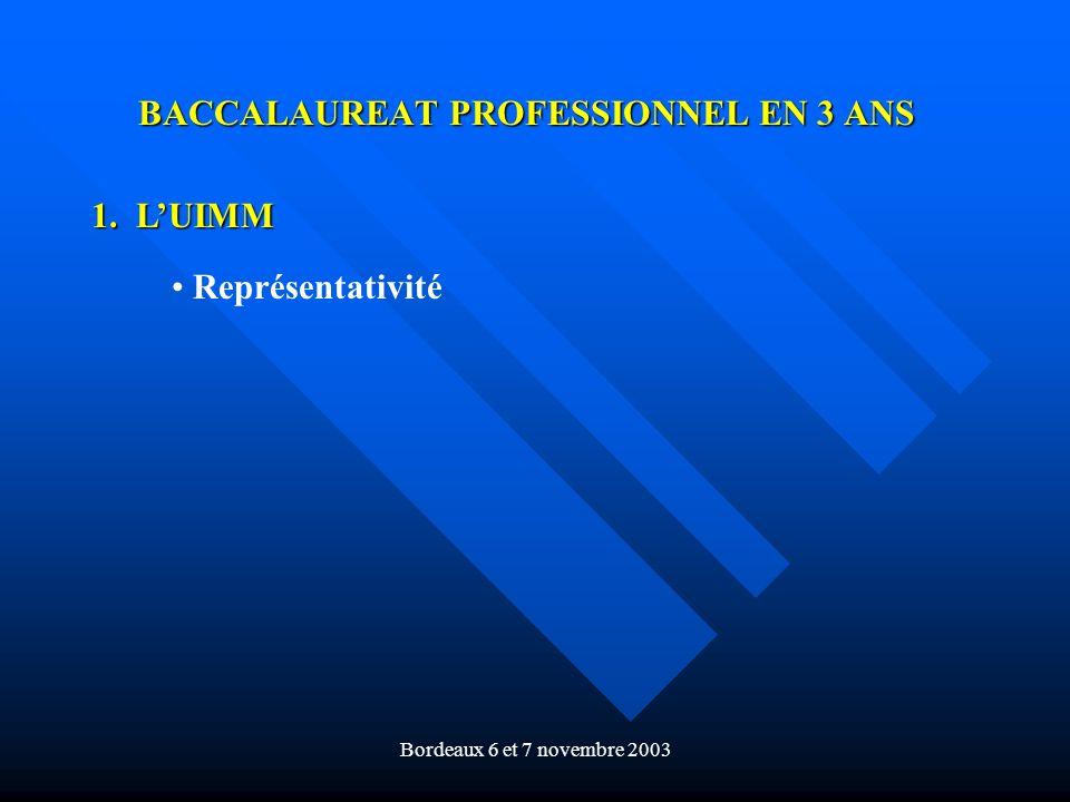 Bordeaux 6 et 7 novembre 2003 BACCALAUREAT PROFESSIONNEL EN 3 ANS 1. LUIMM Représentativité