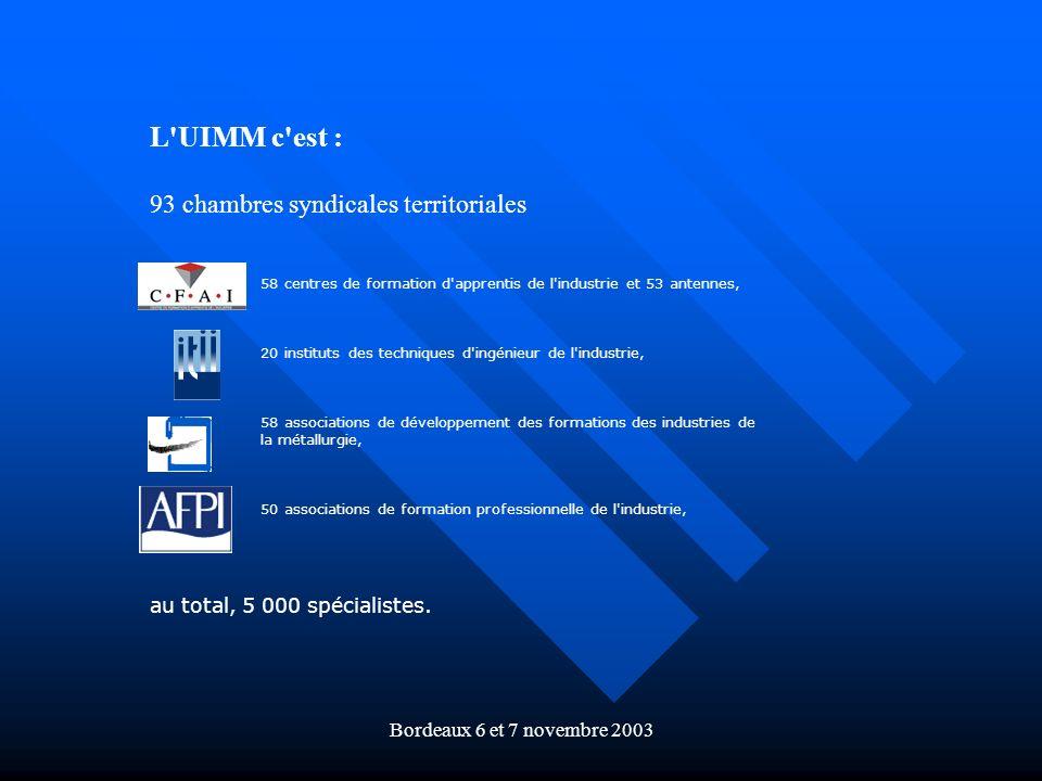 Bordeaux 6 et 7 novembre 2003 L'UIMM c'est : 93 chambres syndicales territoriales 58 centres de formation d'apprentis de l'industrie et 53 antennes, 2