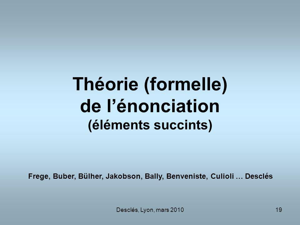 Desclés, Lyon, mars 201019 Théorie (formelle) de lénonciation (éléments succints) Frege, Buber, Bülher, Jakobson, Bally, Benveniste, Culioli … Desclés