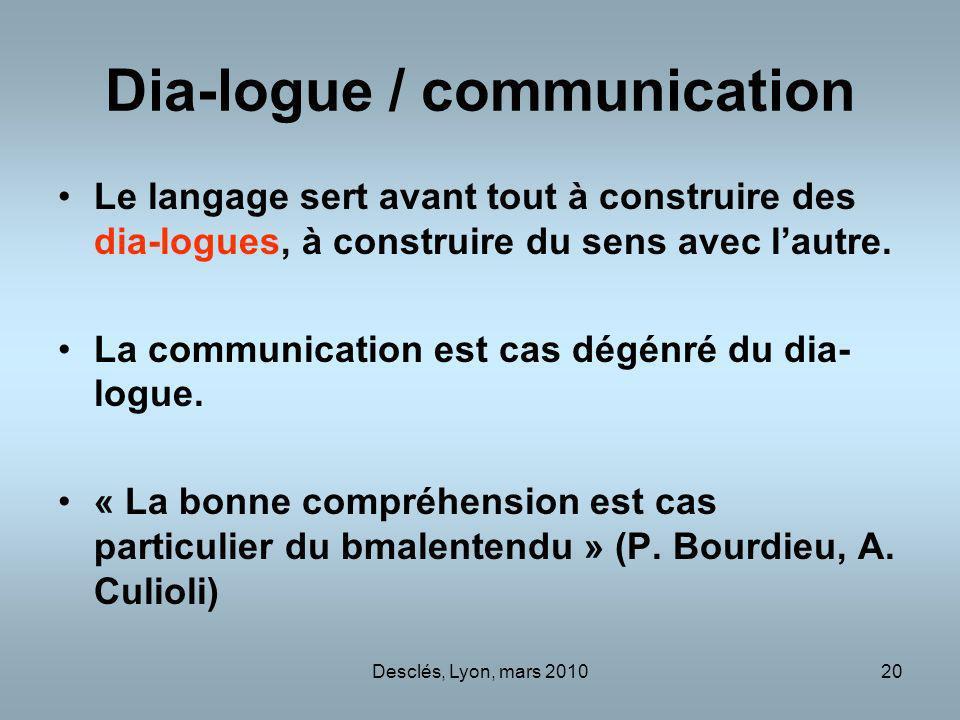 Desclés, Lyon, mars 201020 Dia-logue / communication Le langage sert avant tout à construire des dia-logues, à construire du sens avec lautre. La comm