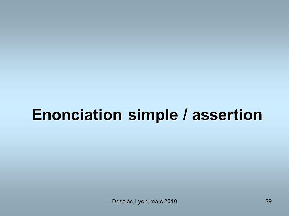 Desclés, Lyon, mars 201029 Enonciation simple / assertion