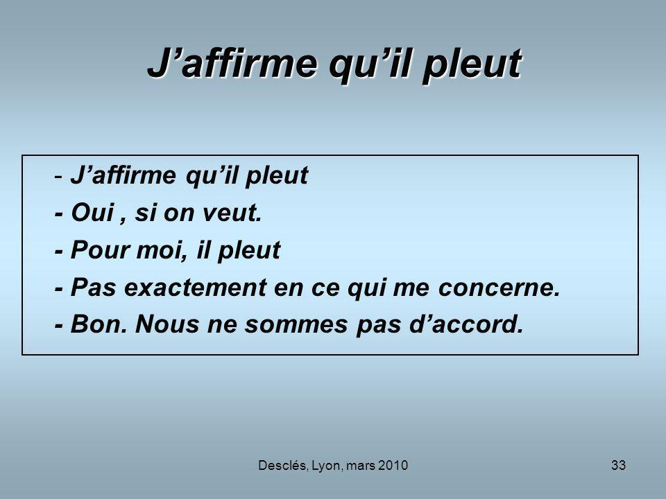 Desclés, Lyon, mars 201033 Jaffirme quil pleut - Jaffirme quil pleut - Oui, si on veut. - Pour moi, il pleut - Pas exactement en ce qui me concerne. -