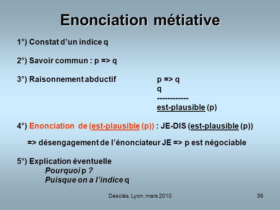 Desclés, Lyon, mars 201036 Enonciation métiative 1°) Constat dun indice q 2°) Savoir commun : p => q 3°) Raisonnement abductifp => q q ------------ es
