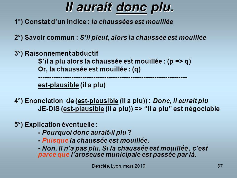 Desclés, Lyon, mars 201037 Il aurait donc plu. 1°) Constat dun indice : la chaussées est mouillée 2°) Savoir commun : Sil pleut, alors la chaussée est