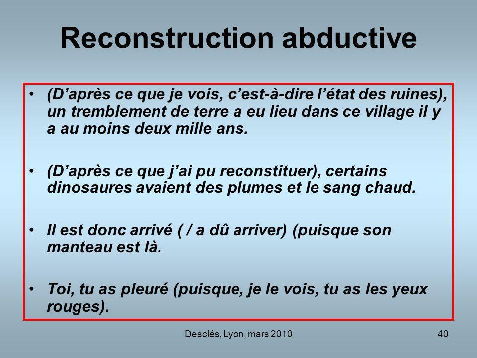 Desclés, Lyon, mars 201040 Reconstruction abductive (Daprès ce que je vois, cest-à-dire létat des ruines), un tremblement de terre a eu lieu dans ce v