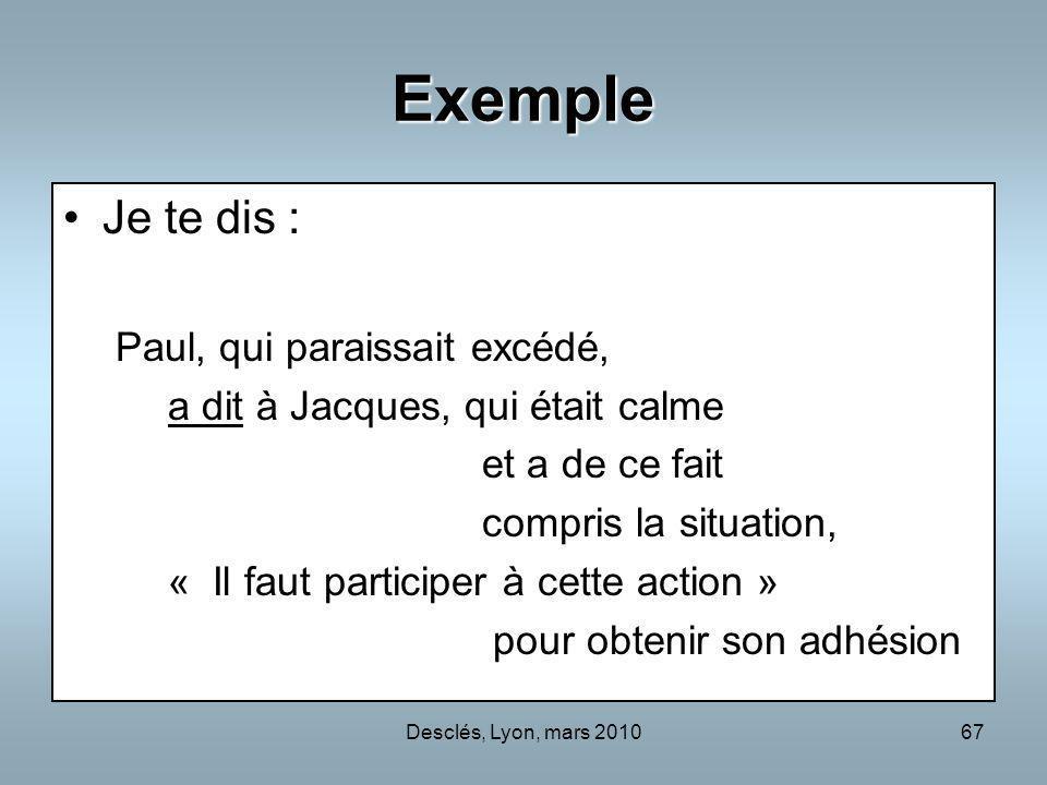 Desclés, Lyon, mars 201067 Exemple Je te dis : Paul, qui paraissait excédé, a dit à Jacques, qui était calme et a de ce fait compris la situation, « I