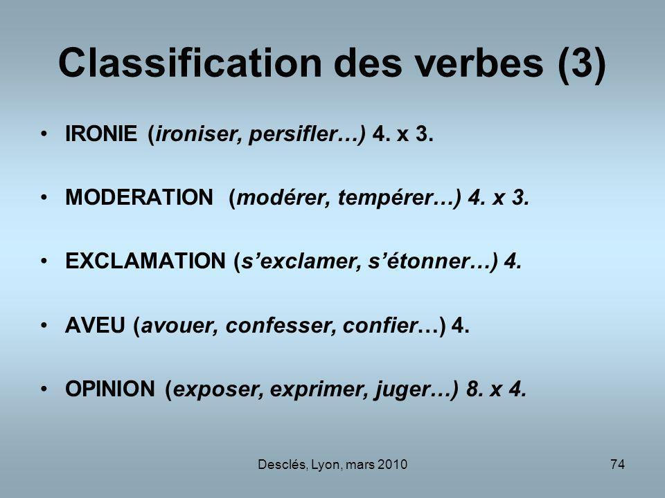 Desclés, Lyon, mars 201074 Classification des verbes (3) IRONIE (ironiser, persifler…)4.