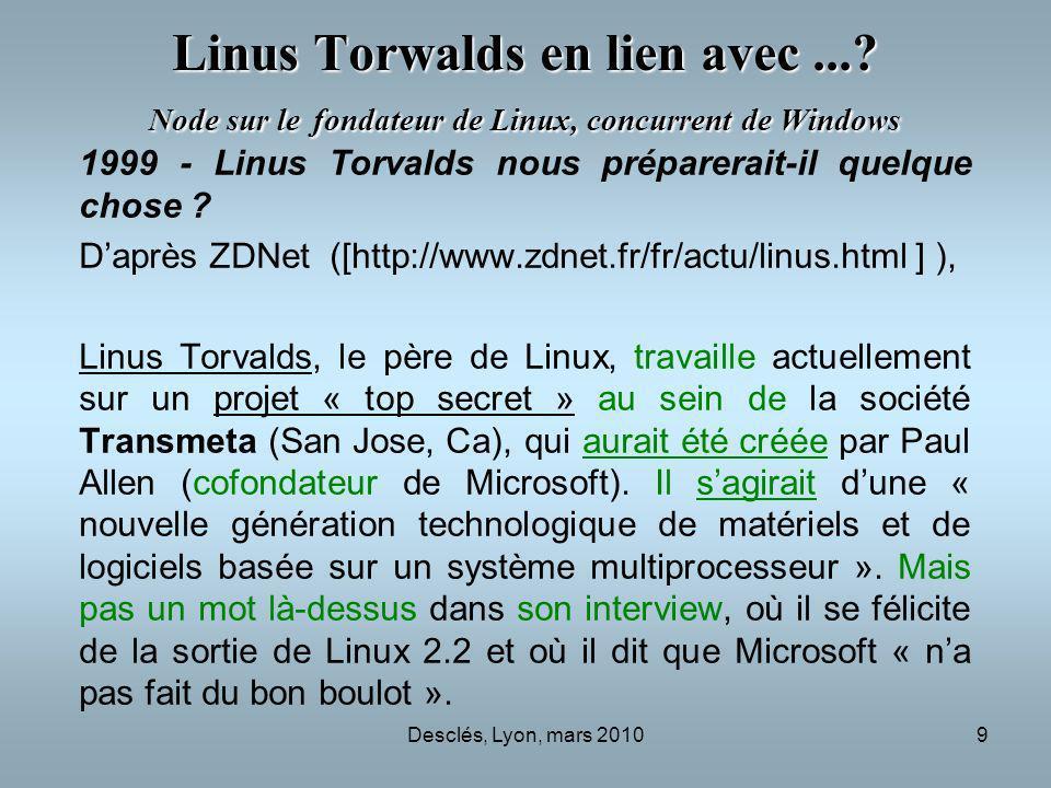 Desclés, Lyon, mars 20109 Linus Torwalds en lien avec...? Node sur le fondateur de Linux, concurrent de Windows 1999 - Linus Torvalds nous préparerait