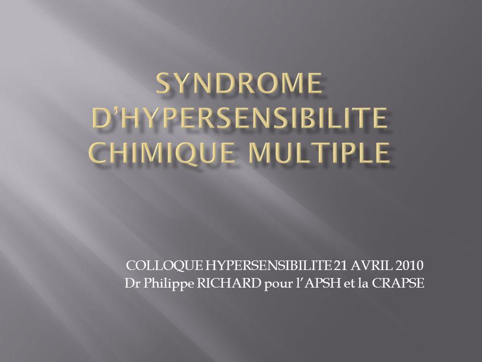 COLLOQUE HYPERSENSIBILITE 21 AVRIL 2010 Dr Philippe RICHARD pour lAPSH et la CRAPSE