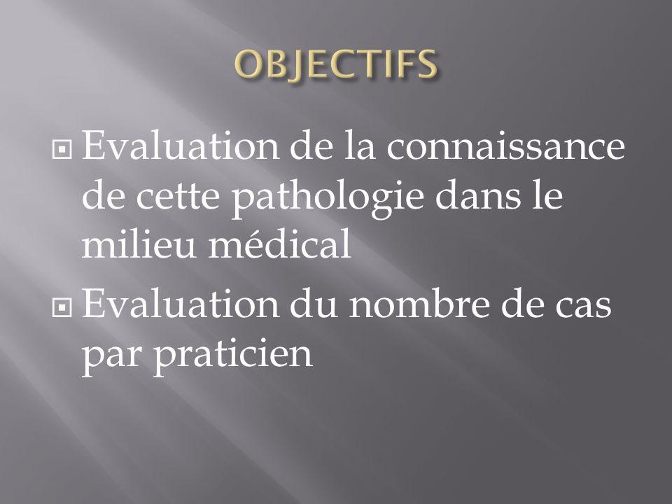 Evaluation de la connaissance de cette pathologie dans le milieu médical Evaluation du nombre de cas par praticien