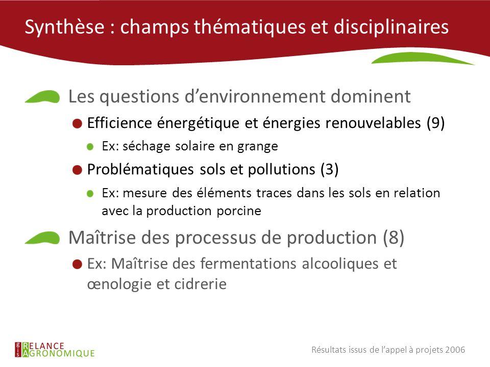 Synthèse : champs thématiques et disciplinaires Les questions denvironnement dominent Efficience énergétique et énergies renouvelables (9) Ex: séchage