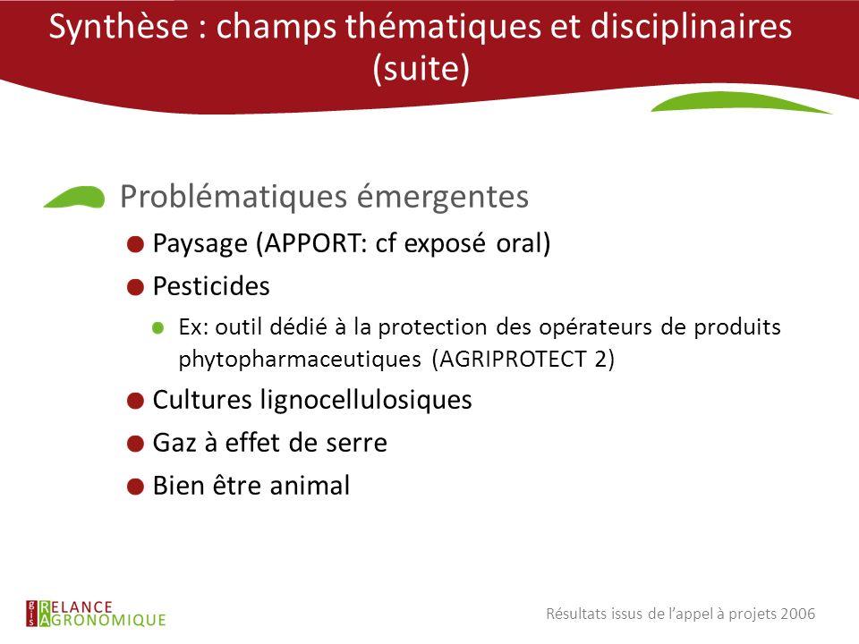 Synthèse : champs thématiques et disciplinaires (suite) Problématiques émergentes Paysage (APPORT: cf exposé oral) Pesticides Ex: outil dédié à la pro