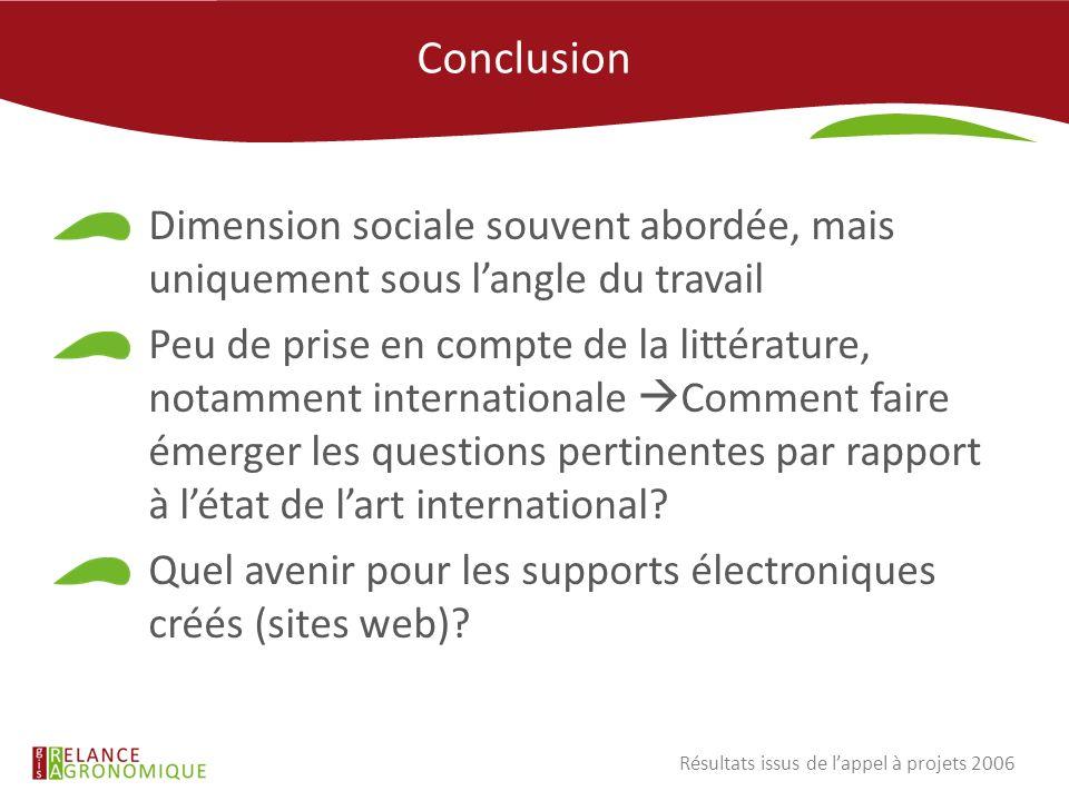Conclusion Dimension sociale souvent abordée, mais uniquement sous langle du travail Peu de prise en compte de la littérature, notamment international