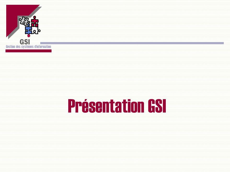 GSI Gestion des systèmes dinformation Présentation GSI GSI Gestion des systèmes dinformation