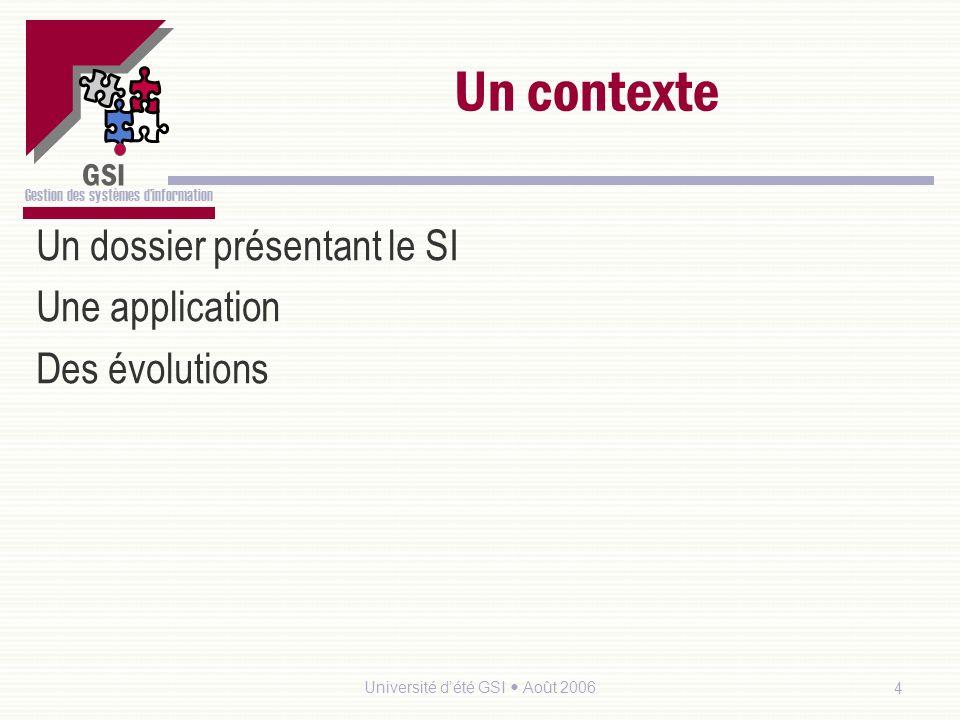 GSI Gestion des systèmes dinformation Université dété GSI Août 20065 Les contextes et le programme Toutes les notions du programmes seront vues au travers des 3 contextes.