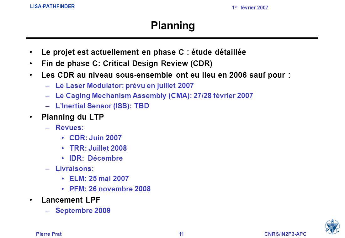 Pierre Prat11CNRS/IN2P3-APC LISA-PATHFINDER 1 er février 2007 Planning Le projet est actuellement en phase C : étude détaillée Fin de phase C: Critica