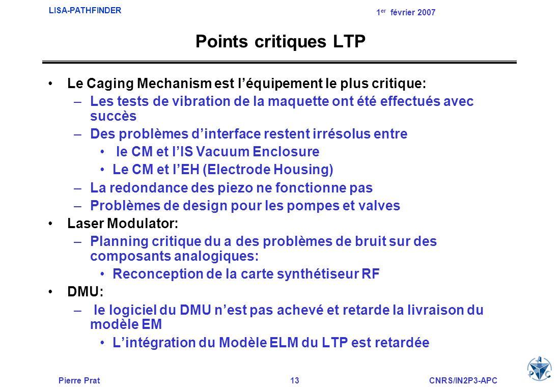 Pierre Prat13CNRS/IN2P3-APC LISA-PATHFINDER 1 er février 2007 Points critiques LTP Le Caging Mechanism est léquipement le plus critique: –Les tests de