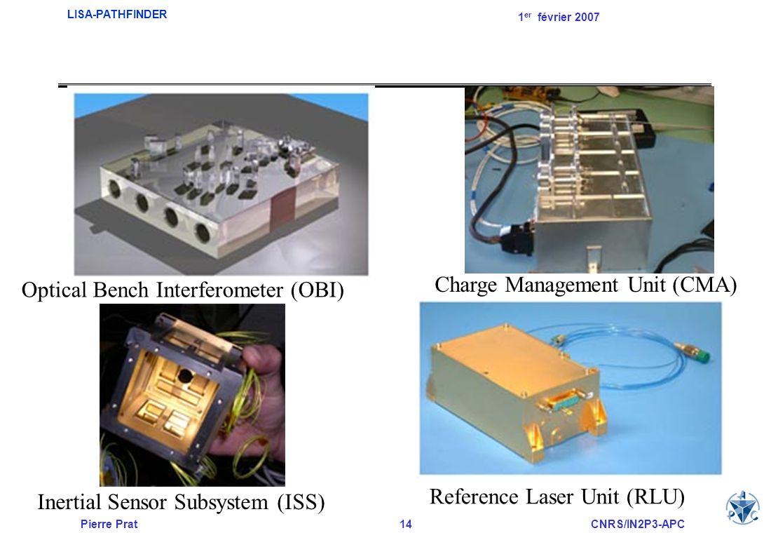 Pierre Prat14CNRS/IN2P3-APC LISA-PATHFINDER 1 er février 2007 Optical Bench Interferometer (OBI) Charge Management Unit (CMA) Inertial Sensor Subsyste