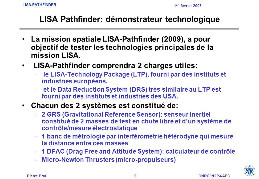 Pierre Prat3CNRS/IN2P3-APC LISA-PATHFINDER 1 er février 2007 DRS: –En octobre 2005, la NASA annonce le « descoping » du DRS (dont les objectifs sont initialement analogues au LTP): Le DRS sera uniquement constitué des micro-fusées (micro- newton thrusters) et du calculateur DFACS Il sera relié au LTP en utilisant les données du senseur inertiel et du banc dinterférométrie LASER La mission devra démontrer que la performance du «drag-free system» (masses-test libres de toute interaction hors champ gravitationnel) approche celle attendue pour LISA à environ un ordre de grandeur près.
