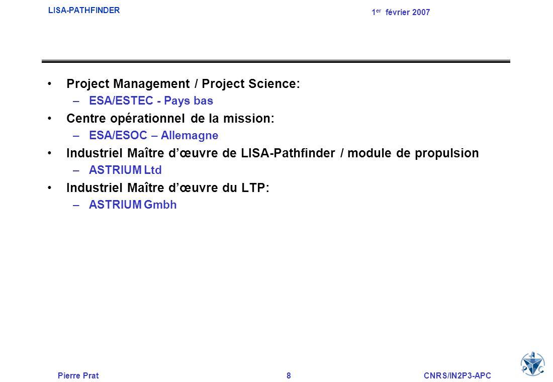 Pierre Prat8CNRS/IN2P3-APC LISA-PATHFINDER 1 er février 2007 Project Management / Project Science: –ESA/ESTEC - Pays bas Centre opérationnel de la mis