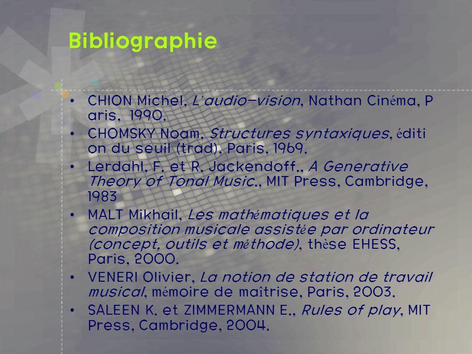 Bibliographie CHION Michel, L audio-vision, Nathan Cin é ma, P aris, 1990. CHOMSKY Noam, Structures syntaxiques, é diti on du seuil (trad), Paris, 196