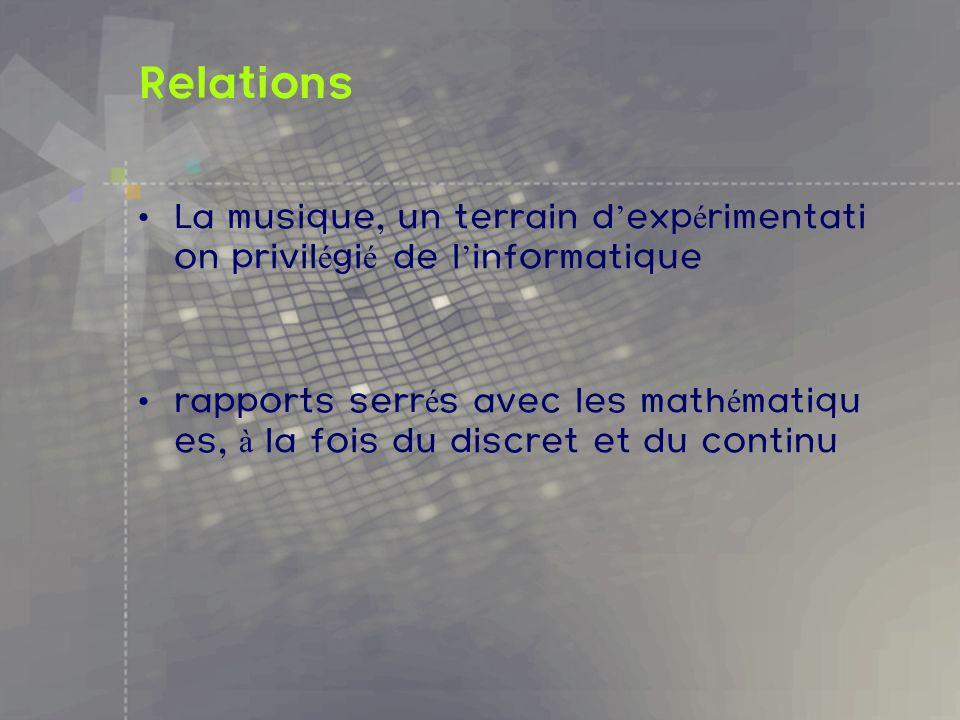 Relations La musique, un terrain d exp é rimentati on privil é gi é de l informatique rapports serr é s avec les math é matiqu es, à la fois du discre