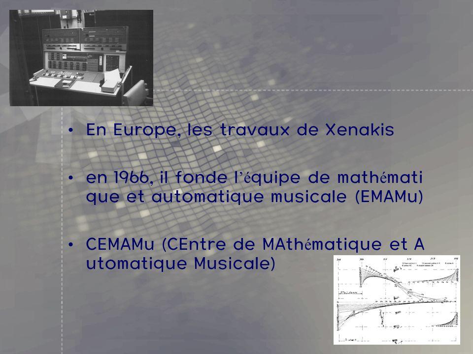En Europe, les travaux de Xenakis en 1966, il fonde l é quipe de math é mati que et automatique musicale (EMAMu) CEMAMu (CEntre de MAth é matique et A