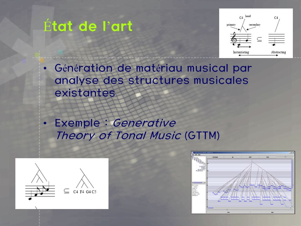 É tat de l art G é n é ration de mat é riau musical par analyse des structures musicales existantes Exemple : Generative Theory of Tonal Music (GTTM)