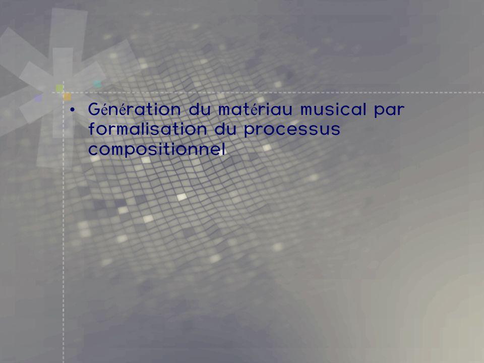 G é n é ration du mat é riau musical par formalisation du processus compositionnel