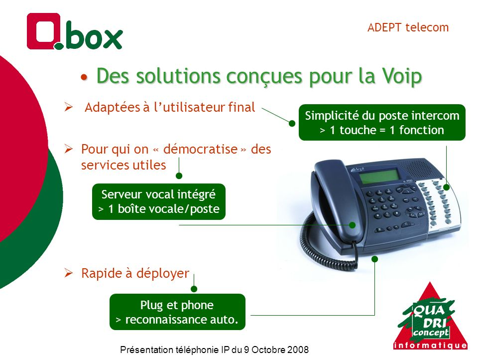 Présentation téléphonie IP du 9 Octobre 2008 Les demandes terrain PabxRouteur Box Téléphonie IP + Internet + LAN Ouverture Support Pérennité Liberté Efficacité Simplicité Performances Economies Sécurité et fiabilité