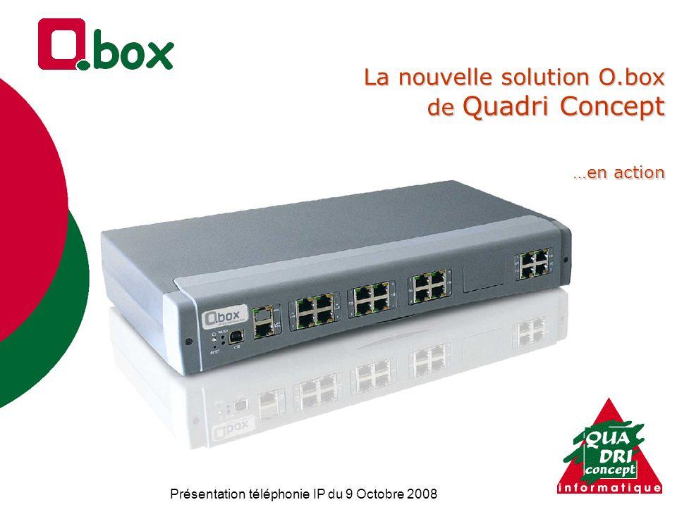 Présentation téléphonie IP du 9 Octobre 2008 La nouvelle solution O.box de Quadri Concept …en action La nouvelle solution O.box de Quadri Concept …en